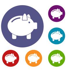 piggy bank icons set vector image