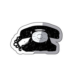 sticker black silhouette antique phone design with vector image vector image