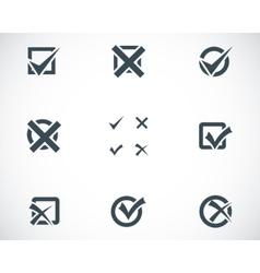 Black check marks icons set vector