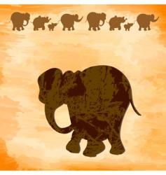 grunge elephants vector image vector image