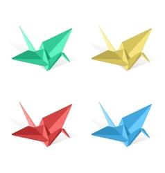 origami paper crane vector image vector image