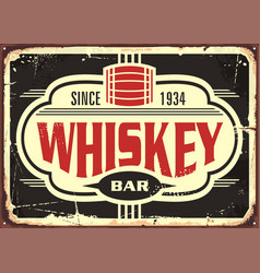 whiskey bar vintage tin sign vector image vector image