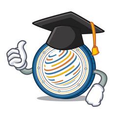 graduation factom coin character cartoon vector image