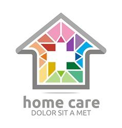 home care healthy rainbow symbol buildings vector image