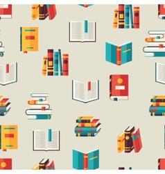 Seamless pattern with books in flat design style vector image vector image