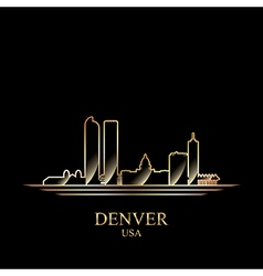 Gold silhouette of Denver on black background vector image vector image