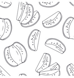 hand drawn outline seamless pattern with kiwi vector image