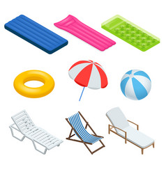 isometric icons set of beach elements and objects vector image vector image