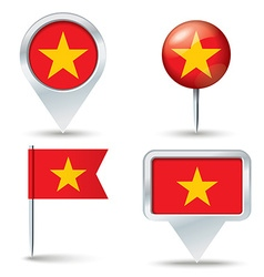 Map pins with flag of Vietnam vector image