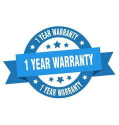 1 year warranty ribbon 1 year warranty round blue vector image