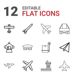 12 airplane icons vector