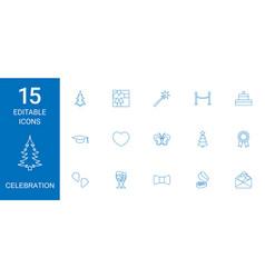 15 celebration icons vector