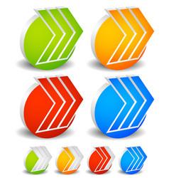 3d arrows with circles 3 right arrows progress vector