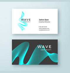 abstract blend wave symbol business card vector image