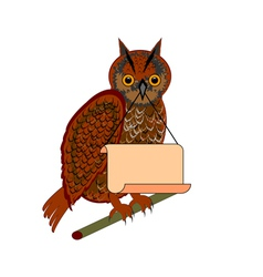 An owl holding a big blank paper in his beak vector image