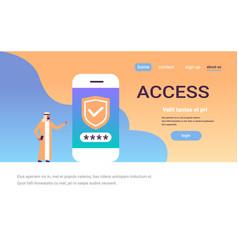 arabian man unlock smartphone password vector image