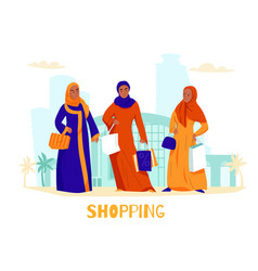arabs women shopping composition vector image