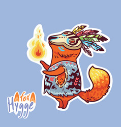 Baby fox shaman with feather cute decorative vector