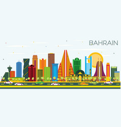 Bahrain city skyline with color buildings and vector