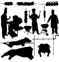 BBQ barbecue related items silhouettes vector image vector image