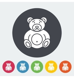 Bear toy flat icon vector image