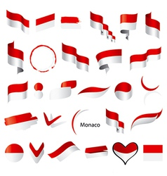 Biggest collection flags monaco vector