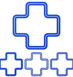 Blue line plus logo design set vector