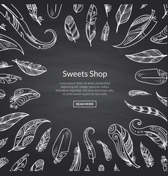 boho doodle feathers on black chalkboard vector image
