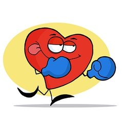 Boxing Red Heart Character Wearing Blue Gloves vector image