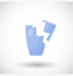 broken drinking glass flat icon vector image