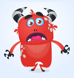 cartoon angry red monster devil vector image