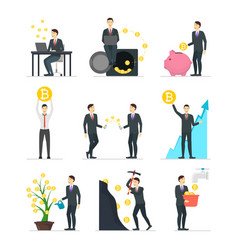 cartoon blockchain concept set with people vector image
