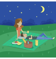 Cartoon style of young happy couple having picnic vector