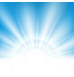 Center sunburst light effect on clean blue sky vector