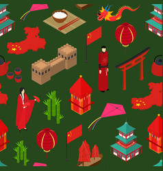 china touristic seamless pattern background vector image