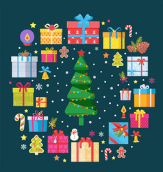 christmas tree and presents with symbols xmas vector image