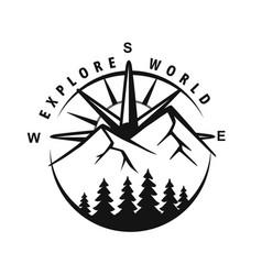 circle mountain badge travel emblem vector image