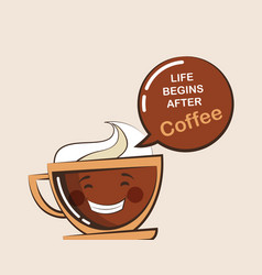 Coffee emoji cup with funny quote vector