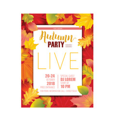 Colorful card invitation with autumn leaves vector