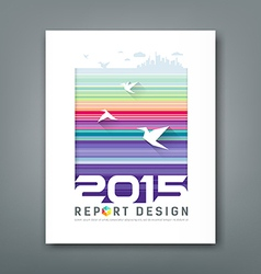 Cover Annual report flying birds silhouette buildi vector