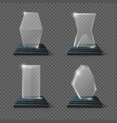 Crystal glass trophy winning business awards vector