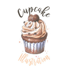 cupcake hand drawn sketch bakery vector image