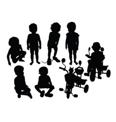 cute kid silhouettes vector image
