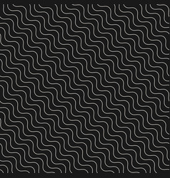 diagonal thin wavy lines seamless pattern dark vector image