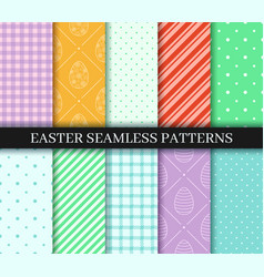 Easter seamless patterns set endless texture for vector