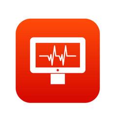 electrocardiogram monitor icon digital red vector image