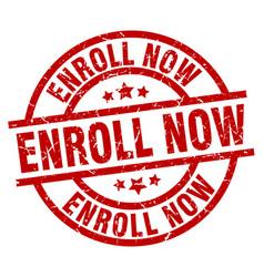 Enroll now round red grunge stamp vector
