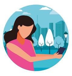 Faceless girl smartphone vector
