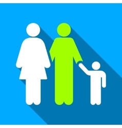 Family Flat Long Shadow Square Icon vector