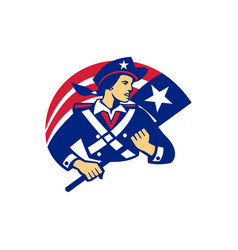 female american minuteman holding flag retro vector image vector image